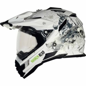 Endurohelm Broken Head Fullgas Viking Enduro Helm weiß matt