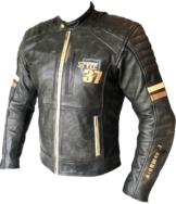 Klassik Lederjacke hochwertige Chopper Motorradjacke Vintage Grau